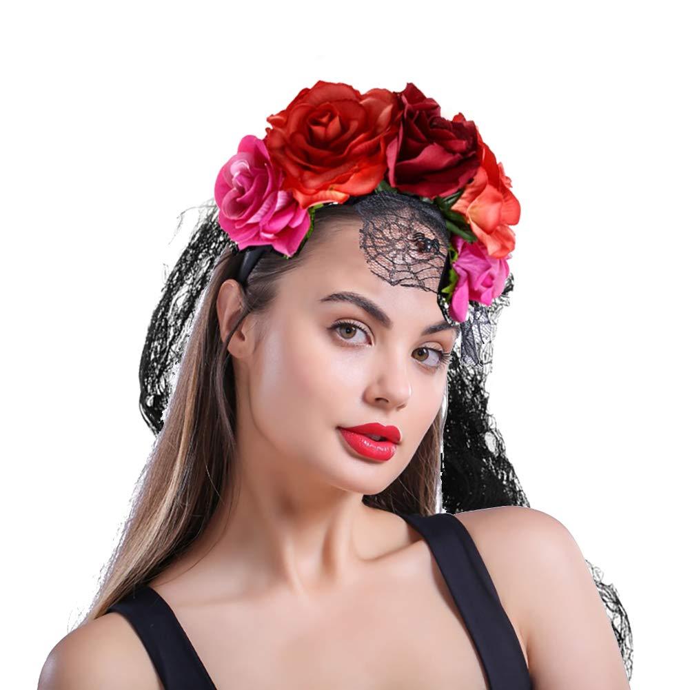 1 Diadema con diseño de Corona de Rosa de Halloween con Velo ...