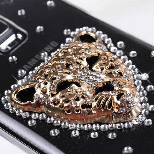 EVTECH(TM) Full Rhinestones Leopard Series Luxury Crystal Diamond Bling Design Hard Faceplate Protector Cover Case for Samsung Galaxy S5 I9600 Samsung Galaxy S5/ GS 5 AT&T G900A/ Sprint G900P/ Verizon G900V/ T-mobile G900T (100% Handcrafted)