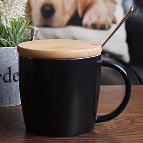 Taza de cerámica con Tapa Cuchara Avena Simple Oficina hogar Taza de la Leche-Negro