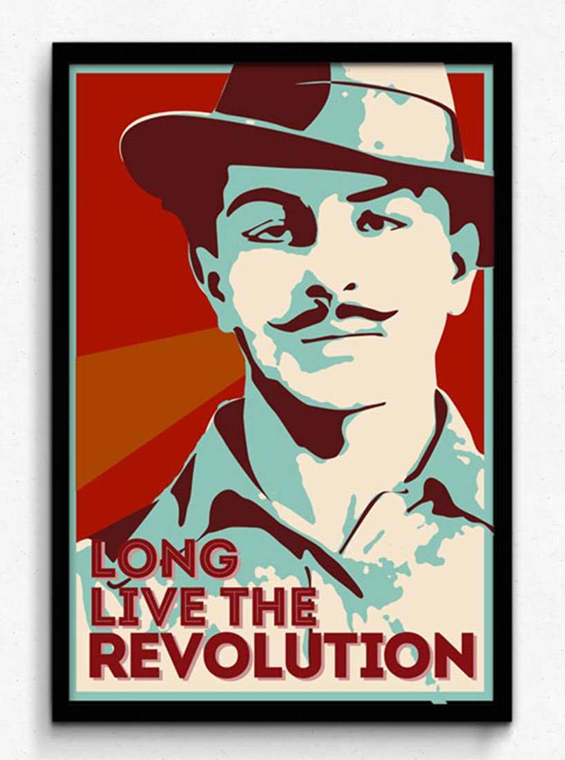 Seven Rays Bhagat Singh Long Live The Revolution Framed With
