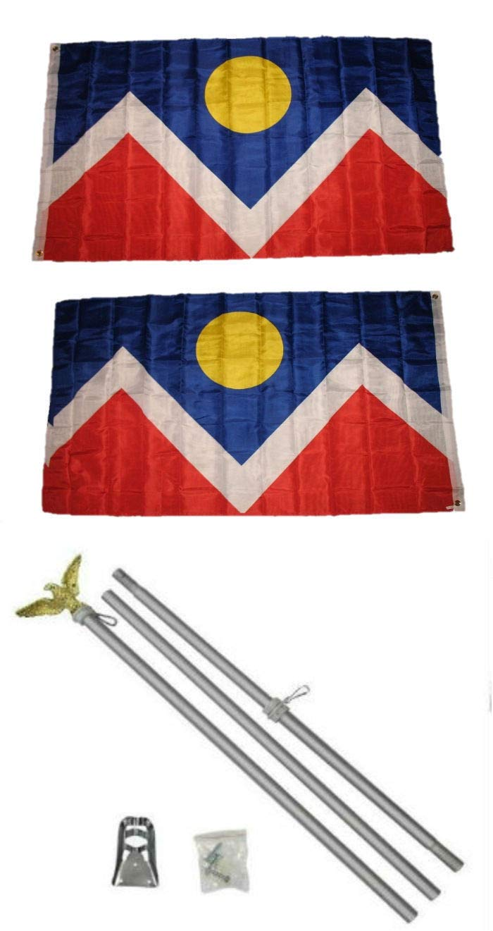 ALBATROS 3 ft x 5 ft City of Denver Colorado 2ply Flag Aluminum with Pole Kit Set for Home and Parades, Official Party, All Weather Indoors Outdoors by ALBATROS