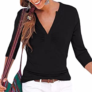 Women'S Sexy Slim V-Neck Tops Long Sleeve T-Shirt Tee Fashion Casual Blouse