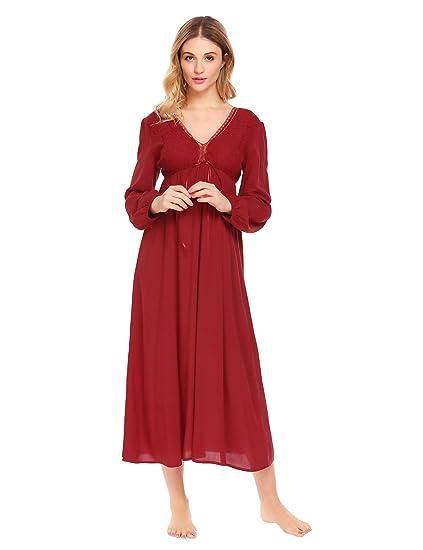 95682409c3176 Ekouaer Women's Cotton Victorian Vintage Lace Long Nightgown Sleepwear