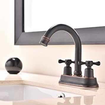 Ufaucet Best Modern Oil Rubbed Bronze 2 Handle Widespread Stainless Steel Bathroom  Faucet,Oil Rubbed