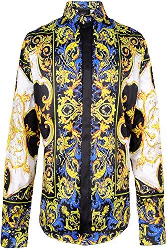 Uomo Lunghe Y1706 A Elegante Stampa Barocco Camicia Maniche Pizoff 28 Lussuosa xS7qXFF
