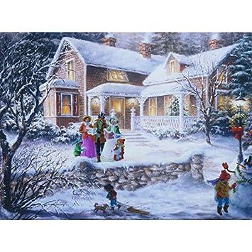 Winterliche Weihnachtsbilder.Insatech Led Bild Sternsinger 400x300mm Leinwandbild Weihnachtsbild Weihnachtshaus Beleuchtet