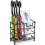 inforest Stainless Steel Bathroom Stand Toothbrush Toothpaste Holder (Black)