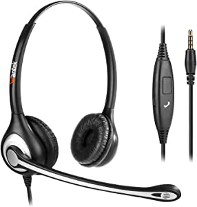 Wantek Wired Cell Phone Headset with Mic Noise Cancelling, 3.5mm Computer Headphone for iPhone Samsung Galaxy Android PC Laptop MAC Tablet Skype Call Center Office, Ultra Comfort(F602J35)