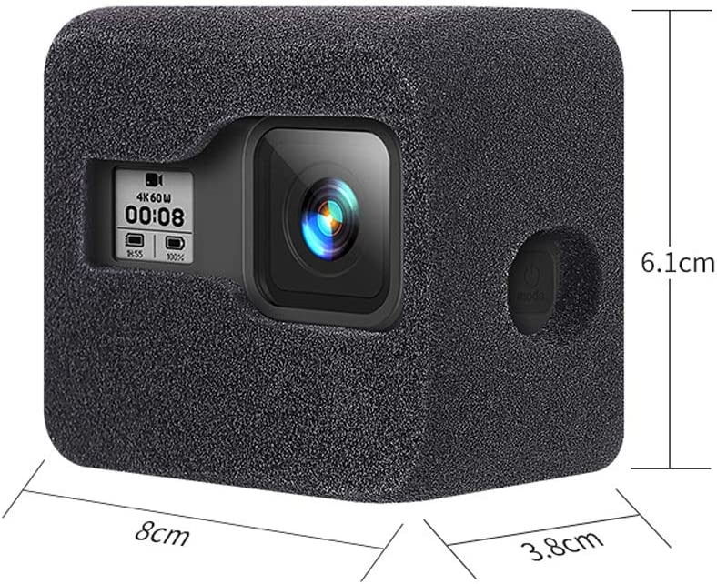 FLOX Windshield Housing Protective Cover Durable gh Density Outdoor Noise Reduction Shockproof Sponge Case Camera Accessory Rebound Soft Thickened for GOPRO HERO8