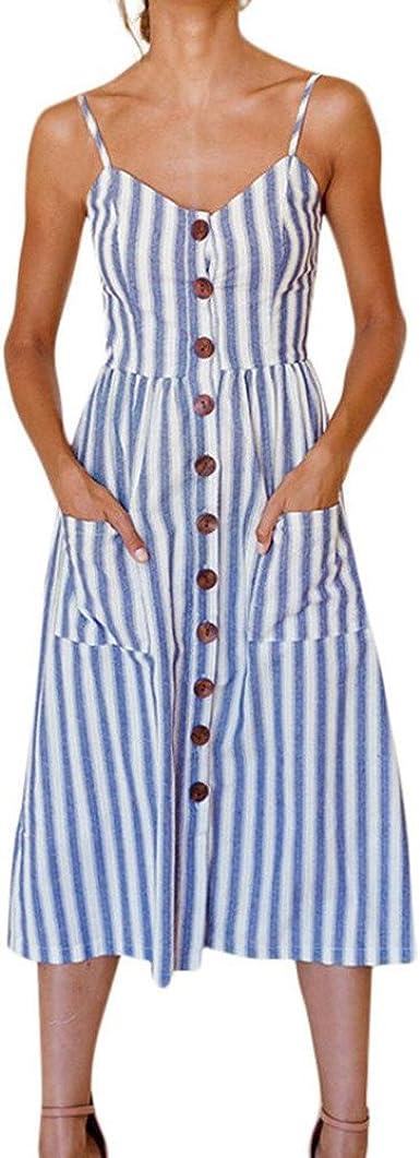 Vestidos Playa Mujer Verano Corto Mini Vestido Fiesta Elegante Vestido de Playa Casual Vestir Ropa Falda Botones de con Bolsillos Vestidos de Camisa sin Manga para Mujeres (2XL, Azul): Amazon.es: Ropa y