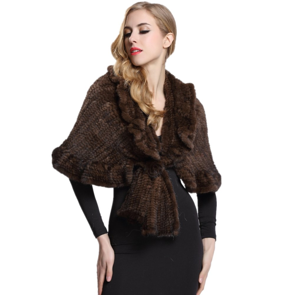 Women's Brown Knitted Mink Fur Pashmina Wraps with Flower Decoration