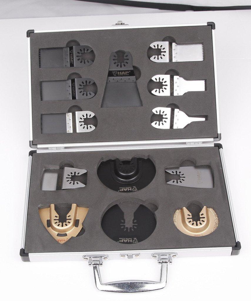 Harpow 13pcs aluminium case set,power oscillating tool blades,multitool blades,power tool saw blades,fits Fein Bosch Craftsman Rockwell Einhell Westfalia Ferm Pro-Line Matrix tools