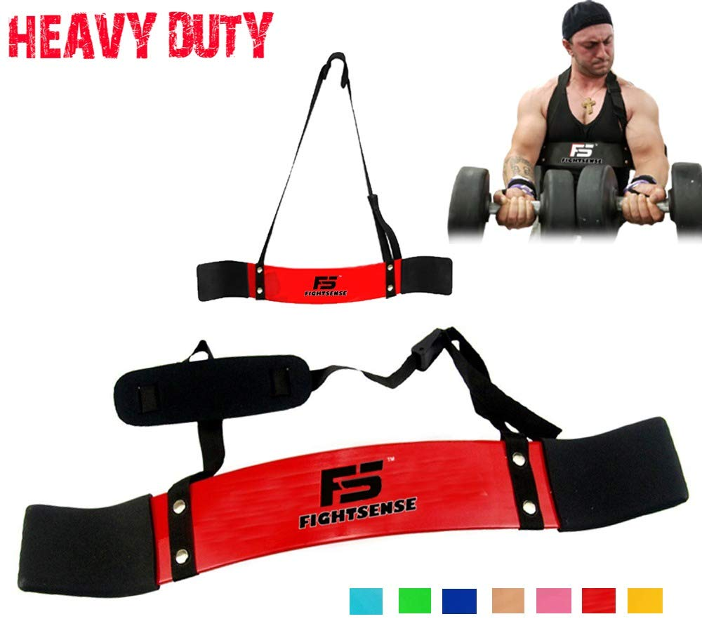 FIGHTSENSE Arm Blaster Biceps Curl Triceps Muscle Isolator Bomber Fitness Gym Workout Training Support (Red)