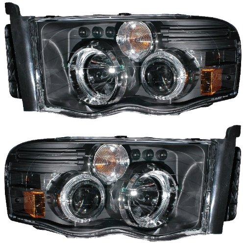DODGE RAM 02-05 PROJECTOR HEADLIGHT G2 W/O CCFL BAR HALO BLACK CLEAR AMBER NEW