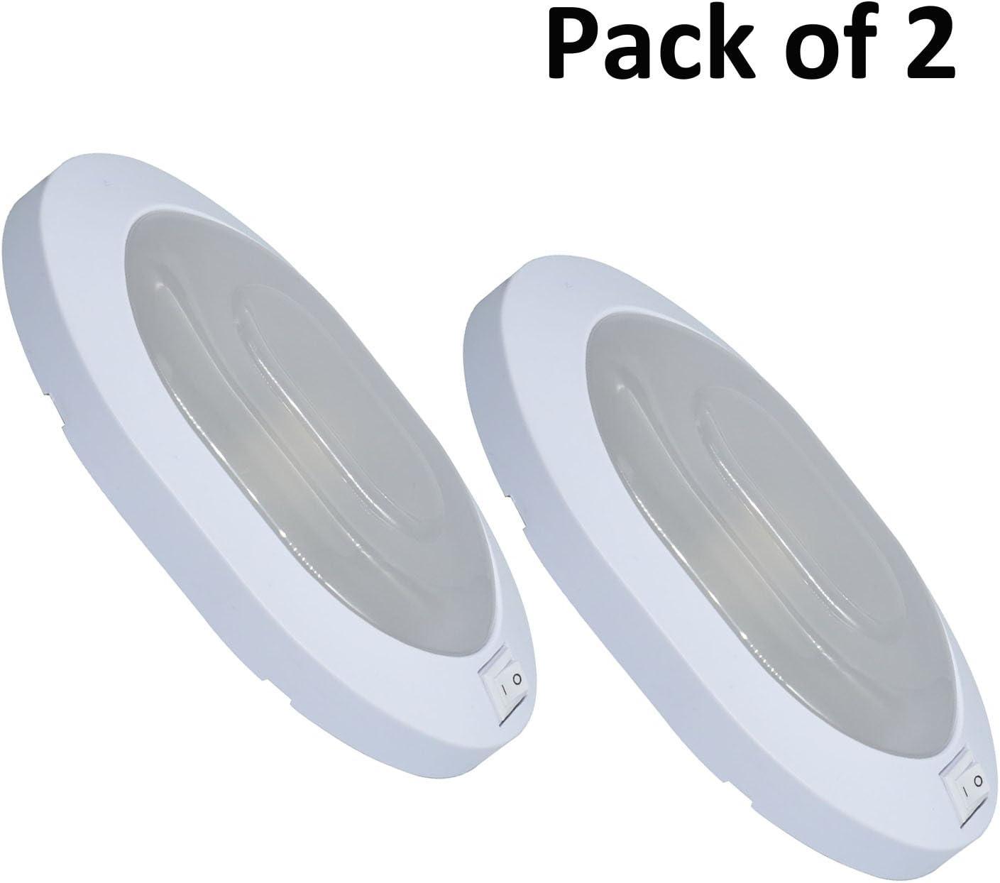 Facon 2pcs LED Luces de Techo, luz Interior con Interruptor de Encendido/Apagado 12V 4W Luces ovales para Autocaravana, Autocaravana (Blanco)