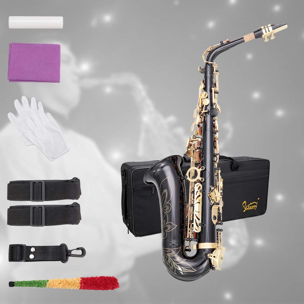 Glarry Student Alto Eb E-flat Handcrafted Carve Pattern Saxophone Gold Lacquer SAX Beginners Kit with Case, Reeds,Mouth Piece, Soft Cleaning Cloth and Rod,Gloves (Black) by GLARRY