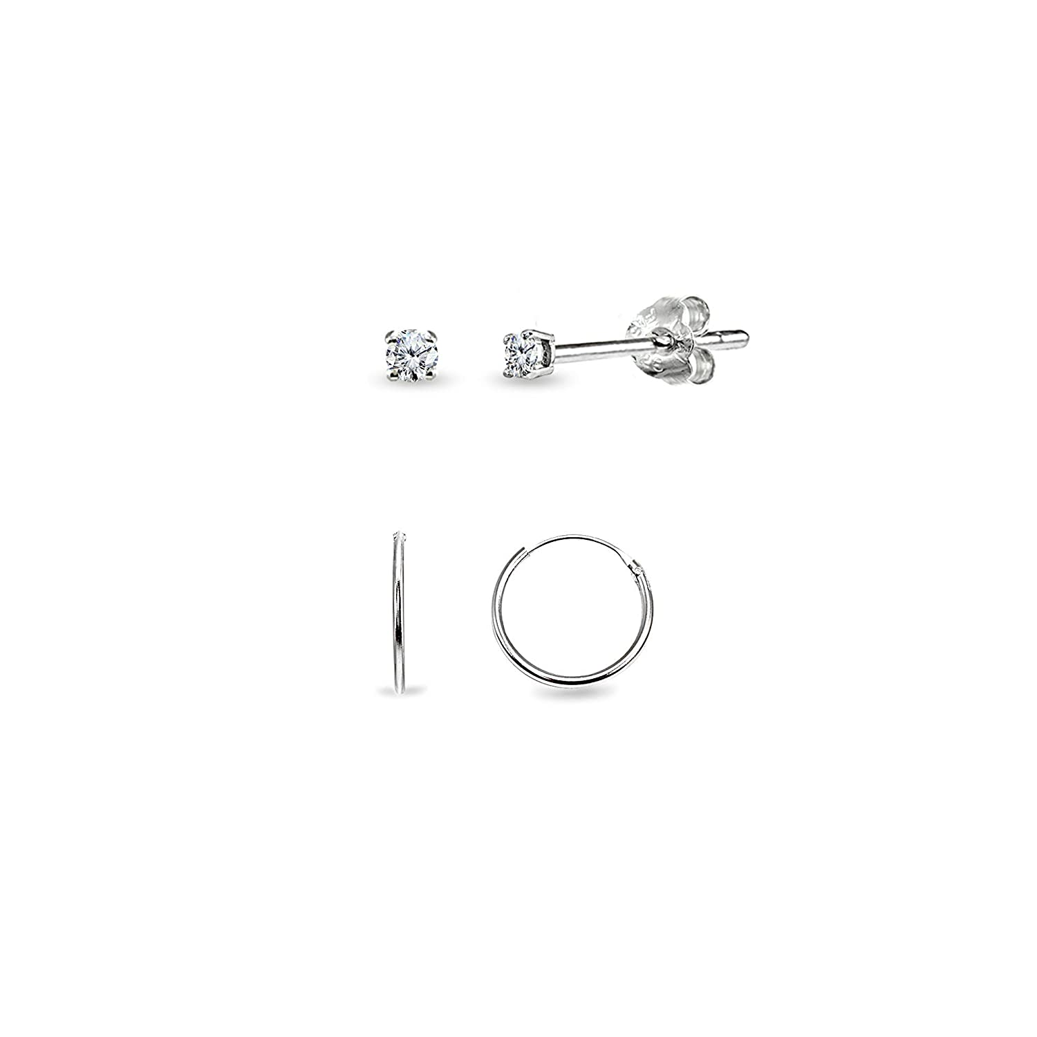 Fashion Silver Plated Stainless Steel 2mm Thin Polished Round Hoop Earrings WR