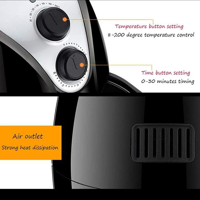Freidora De Aire, Freidora Saludable, Temporizador Y Termostato Ajustable, Cesta Antiadherente, Capacidad De 1400W 3.5L: Amazon.es: Hogar