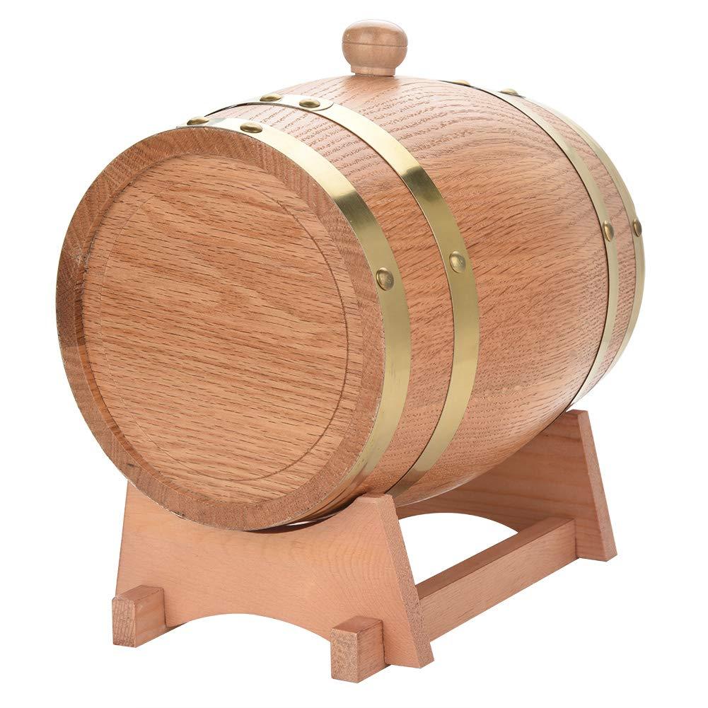 Oak Barrel, Wooden Wine Barrel, Vintage Timber Wine Barrel for Beer Whiskey Rum Bourbon Tequila 3L/5L/10L (3L) by EBTOOLS (Image #2)