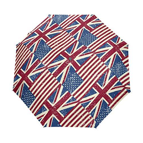 (Jereee Great Britain United Kingdom Flag Compact Travel Umbrella, Outdoor Rain Sun Car Folding Umbrellas for Windproof, Reinforced Canopy, UV Protection, Ergonomic Handle, Auto Open/Close )