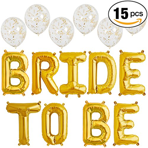 Gold 16″ Mylar Bride To Be & Set of 6 Matte Gold Confetti Clear Balloons Bachelorette Bridal Shower Decorations