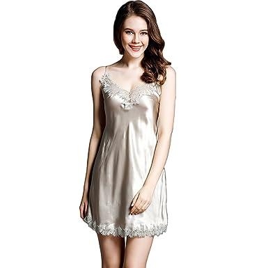 330f25eff Alysee Women 100% Mulberry Silk Slip Dress Lady Lingerie Sleepskirt  Sleepwear at Amazon Women's Clothing store: