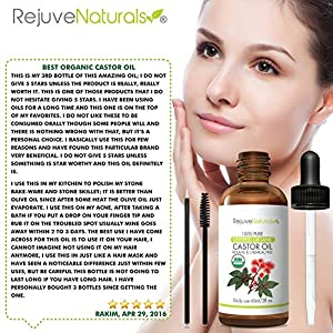 Organic Castor Oil, 2 oz - 100% Pure, Hexane Free, Cold Pressed & USDA Organic by RejuveNaturals | Best Eyelash Growth Serum Treatment For Eyelashes, Eyebrows, Hair, Dry Skin & Face. w/ Applicator Kit