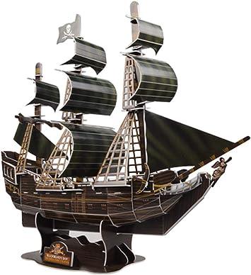 3D Puzzle modelo Ship Queen Revenge piratas del Caribe negro barco de perlas DIY 3D buque modelo … (La venganza de la pequeña Reina Ana): Amazon.es: Juguetes y juegos