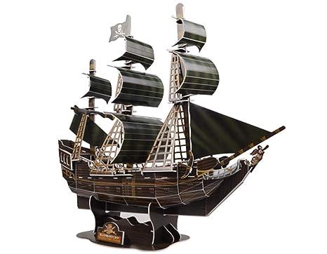 3D Puzzle modelo Ship Queen Revenge piratas del Caribe negro barco de perlas DIY 3D buque