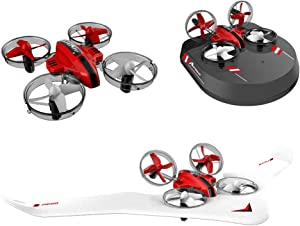 GoolRC All in One RC Drone/ Glider Airplane/ Hovercraft, Sea-Land-Air Switchable 2.4Ghz Remote Control Quadcopter Car Boat with Headless Mode, 3D Flips for Beginners Kids Adults