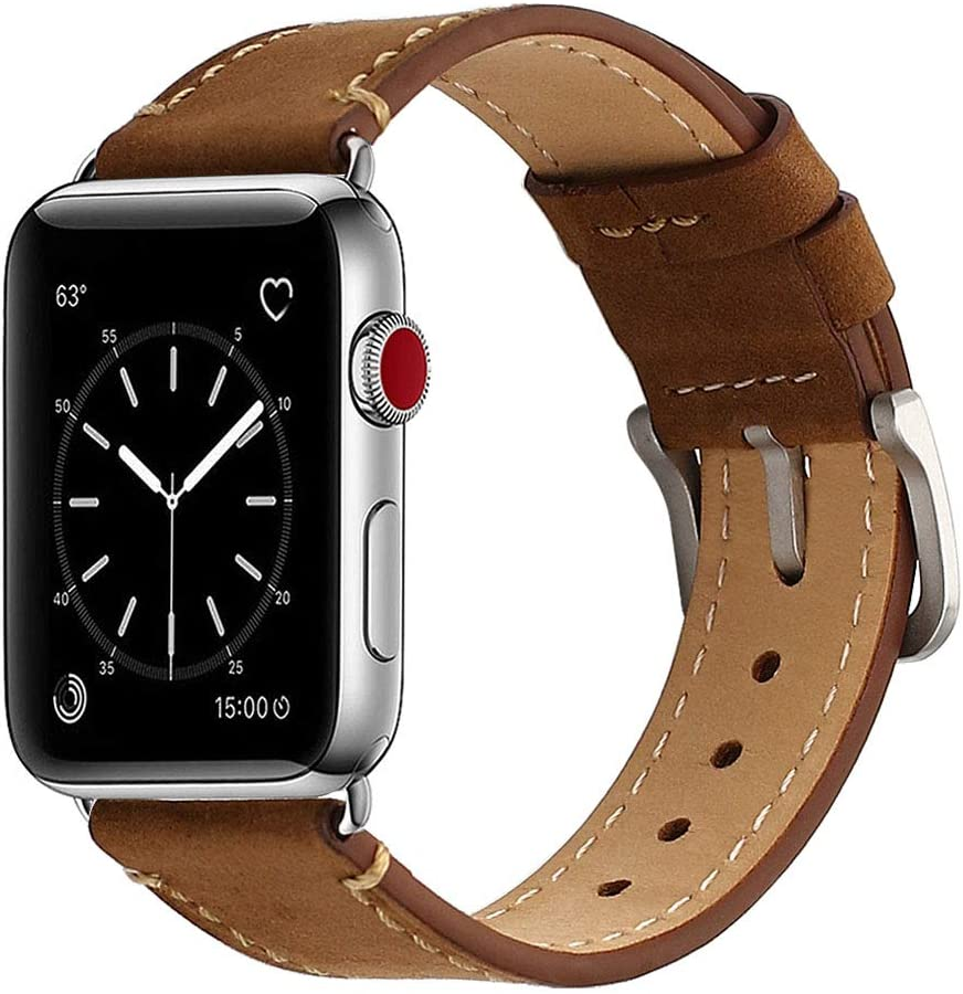 Mkeke Compatible with Apple Watch Band 42mm 44mm Mkeke Genuine Leather iWatch Bands Coffee