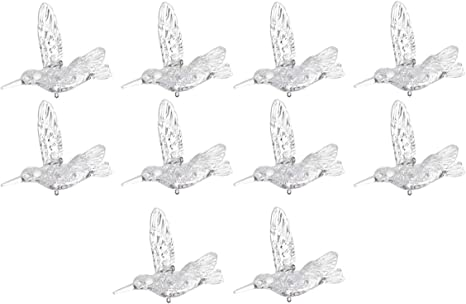 Vosarea 10pcs Acrylic Bird Hanging Decorations Hummingbird Ornament Christmas Tree Ornaments Ceiling Decoration 10cm Home Kitchen