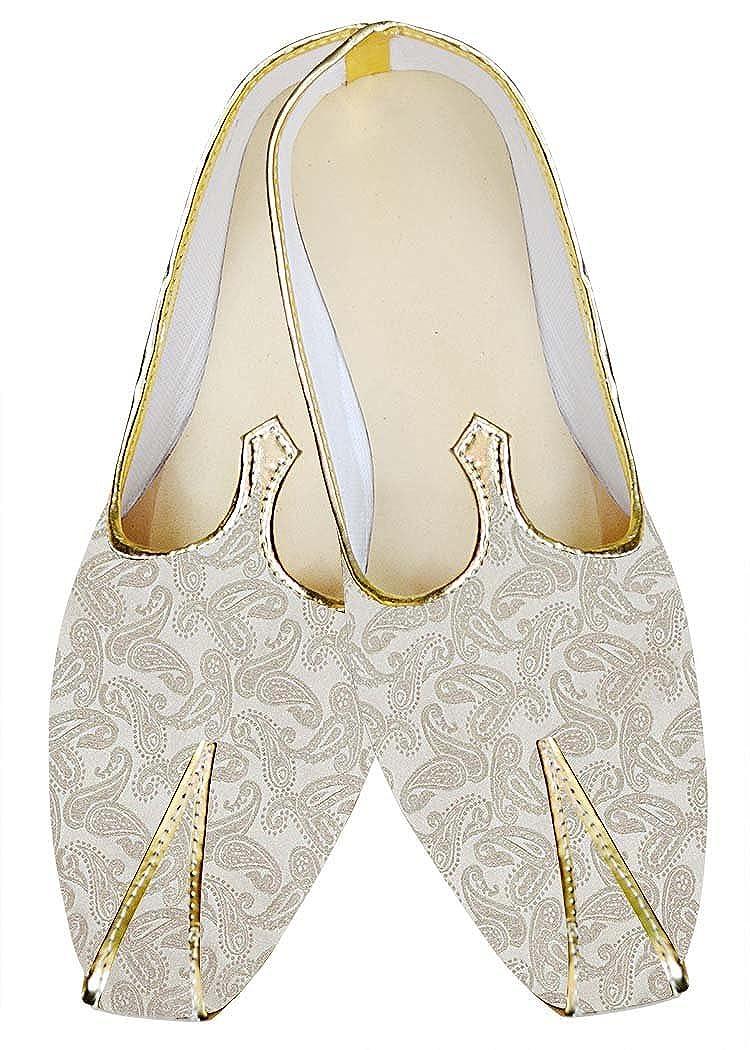 INMONARCH Crema Hombres Boda Zapatos Paisley Patrón MJ013240 44.5 EU