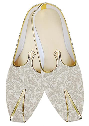 Mens Cream Wedding Shoes Paisley Pattern MJ013240