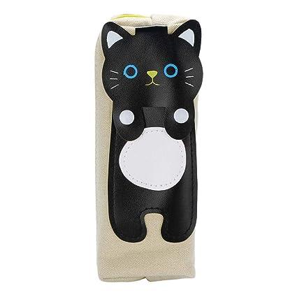 Flyclore - 1 bolsa para bolígrafos de dibujos animados y gatos con cremallera, estuche de