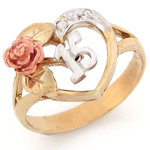 Jewelry Liquidation 10k Tri-Color Gold 15 Anos Quinceanera Red Rose CZ Ring