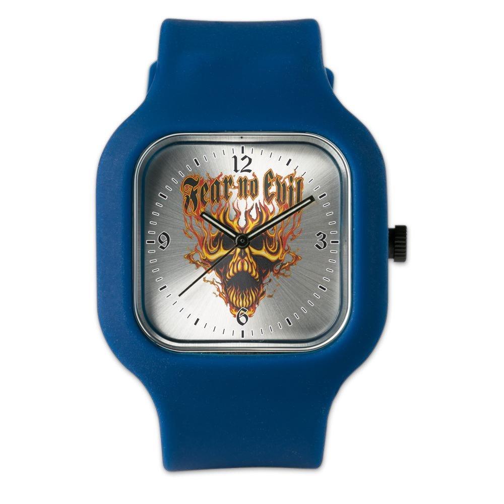 Navy Blue Fashion Sport Watch Fear No Evil Flaming Skull