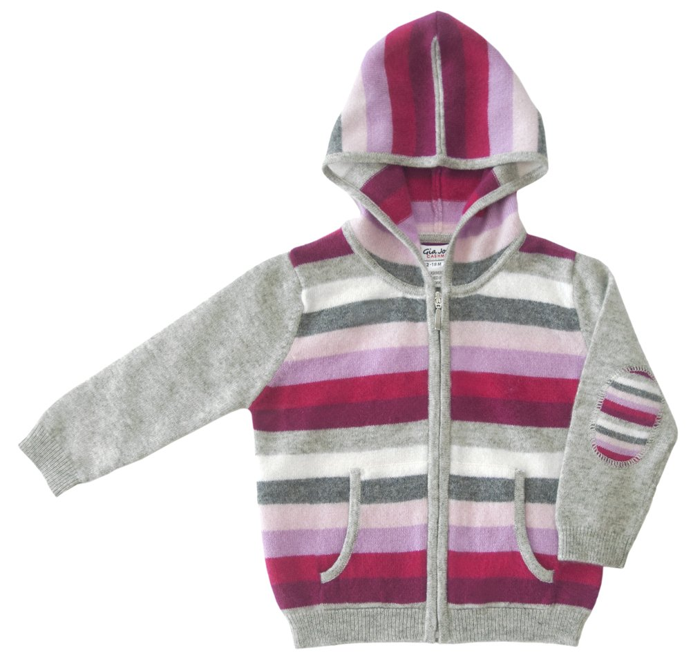 Gia John 100% Cashmere Girl Stripped Hoodie in Pink (6)