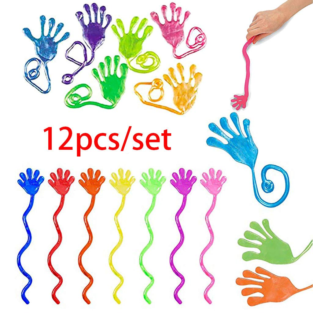 Binory 12pcs Vinyl Glitter Mini Sticky Hands Toys for Children Party Favors,Birthday Party Supplies for Children Adults,Funny Sticky Stretchy Toys Assortment for Kids