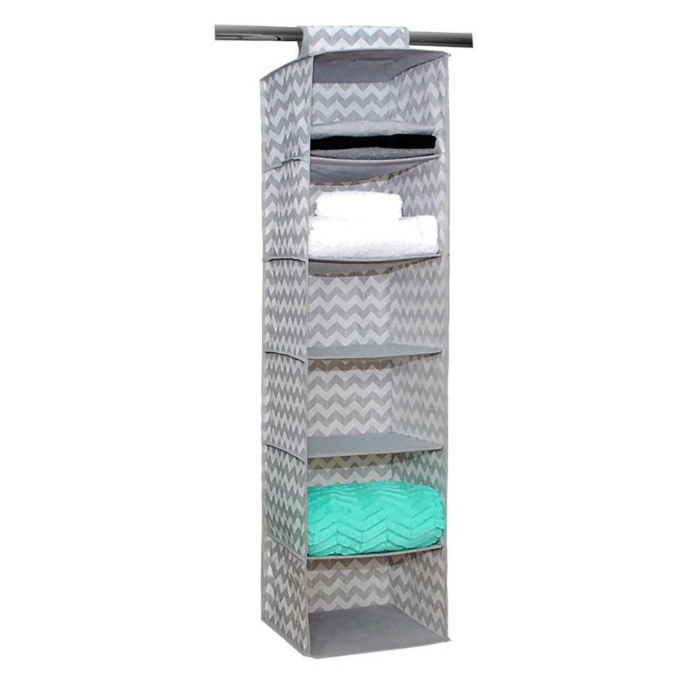 Campus Linens Hanging Garment Organizer for College Dorm Storage (Color Gray Chevron)
