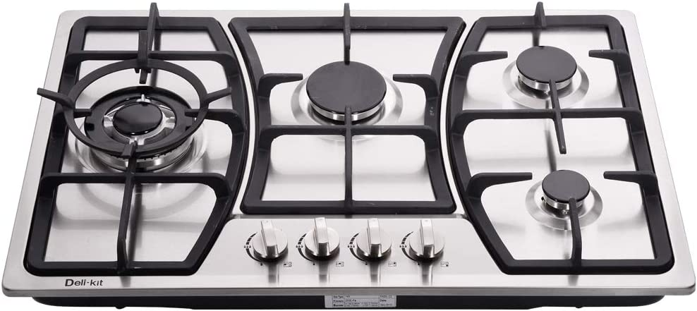 Deli-kit DK247-A01 30 inch LPG//NG gas cooktop stovetop 4 burners Dual Fuel 4 Sealed Burners brass burner Stainless Steel 110V AC pulse ignition with cast iron support