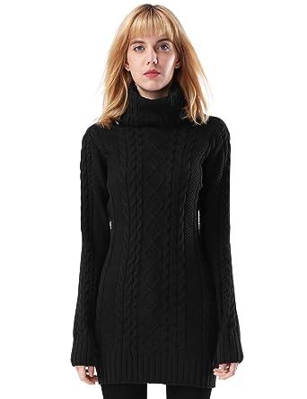 ninovino Women s Sweater Jumper - Turtleneck Long Sleeve Cable Knit Black  XS (Thickening) 373263978