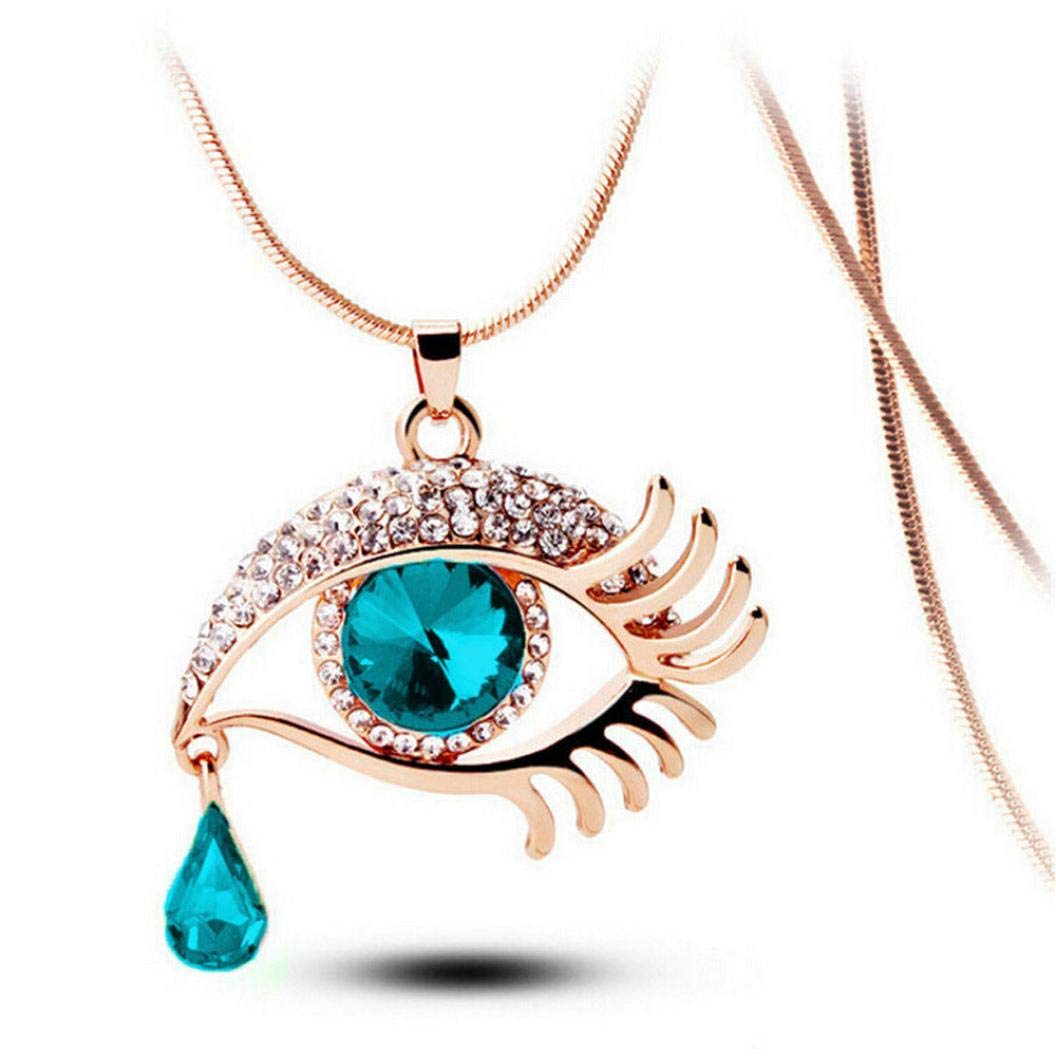 Snowfoller Magic Eye Crystal Sweater Pendant Chain Fashion Tear Drop Eyelashes Charm Long Necklace Jewelry Gift For Women Girls (Green)