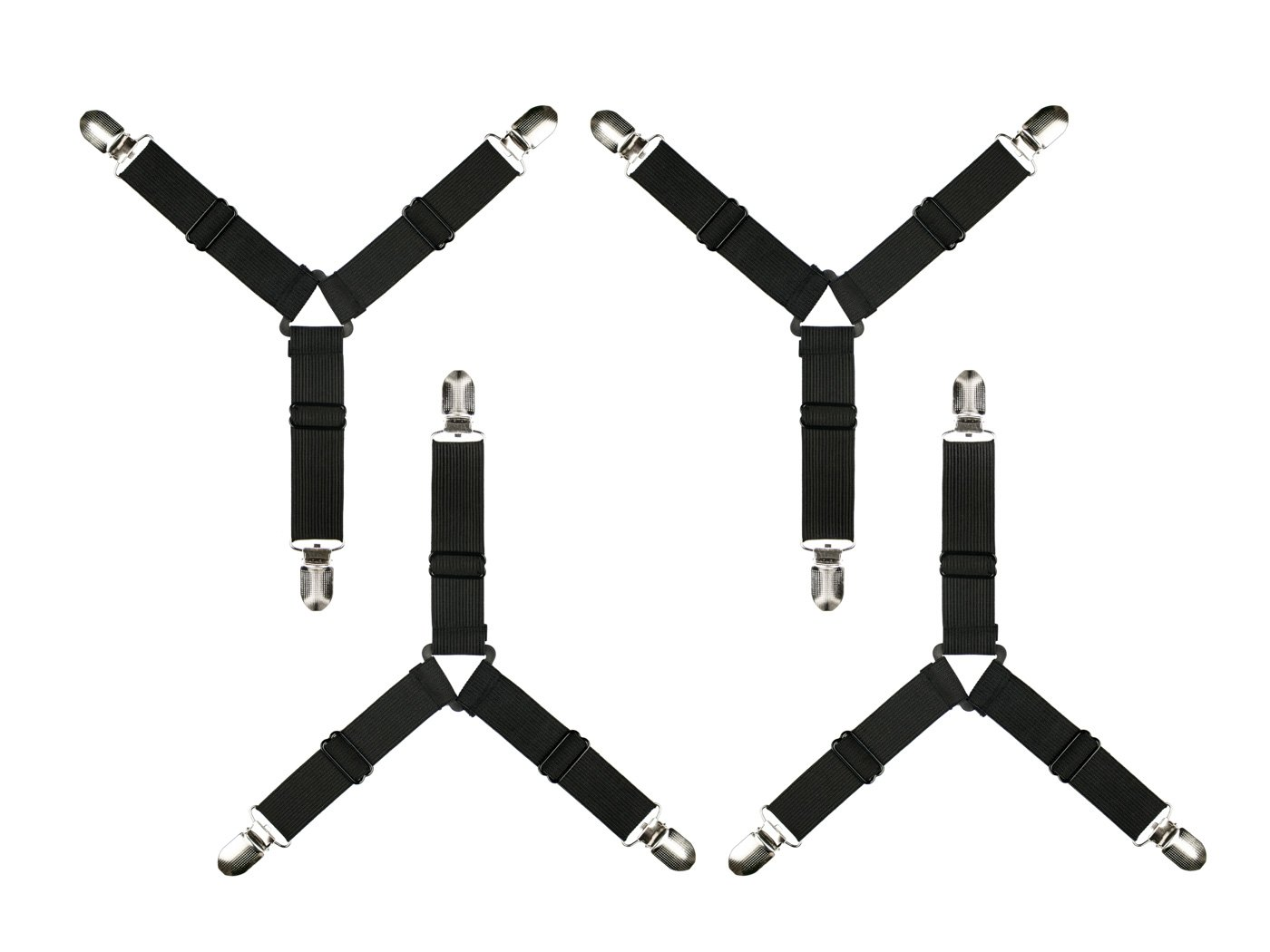 AYE 3-Way Sheet Holder Straps, Adjustable Triangle Fastener Suspenders Grippers for Bed Sheets,Mattress Covers and Sofa Cushion (Black, Pack of 4) AYE Store