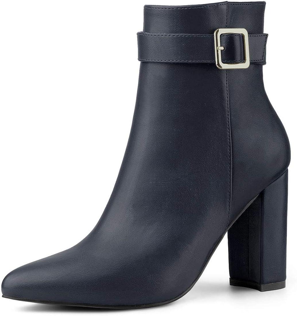 Allegra K Women's Pointed Toe Buckle Decor Heel Ankle Booties