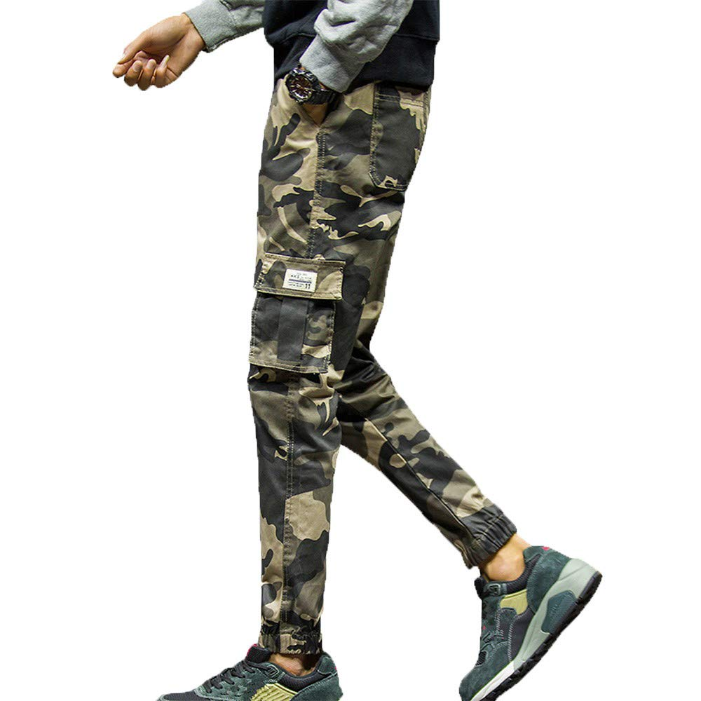 Mens Fashion Camouflage Pocket Nine Points Small Feet Looser Casual Pant,PASATO Clearance Sale(Khaki, XXXXXL)