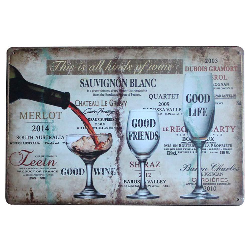 Pub Pub Targa in Metallo Fablcrew Poster Metallico Artistico Decorativo Vintage per Bar Bar Motivo Vino caffetteria 20 x 30 cm da Parete Vintage