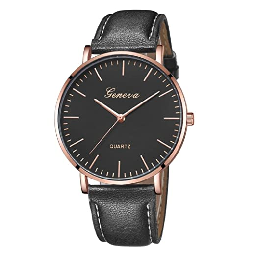 Zarupeng Geneva Fashion Simple Watch Womens Leisure Analog Leather Quartz Wrist Watches (P)