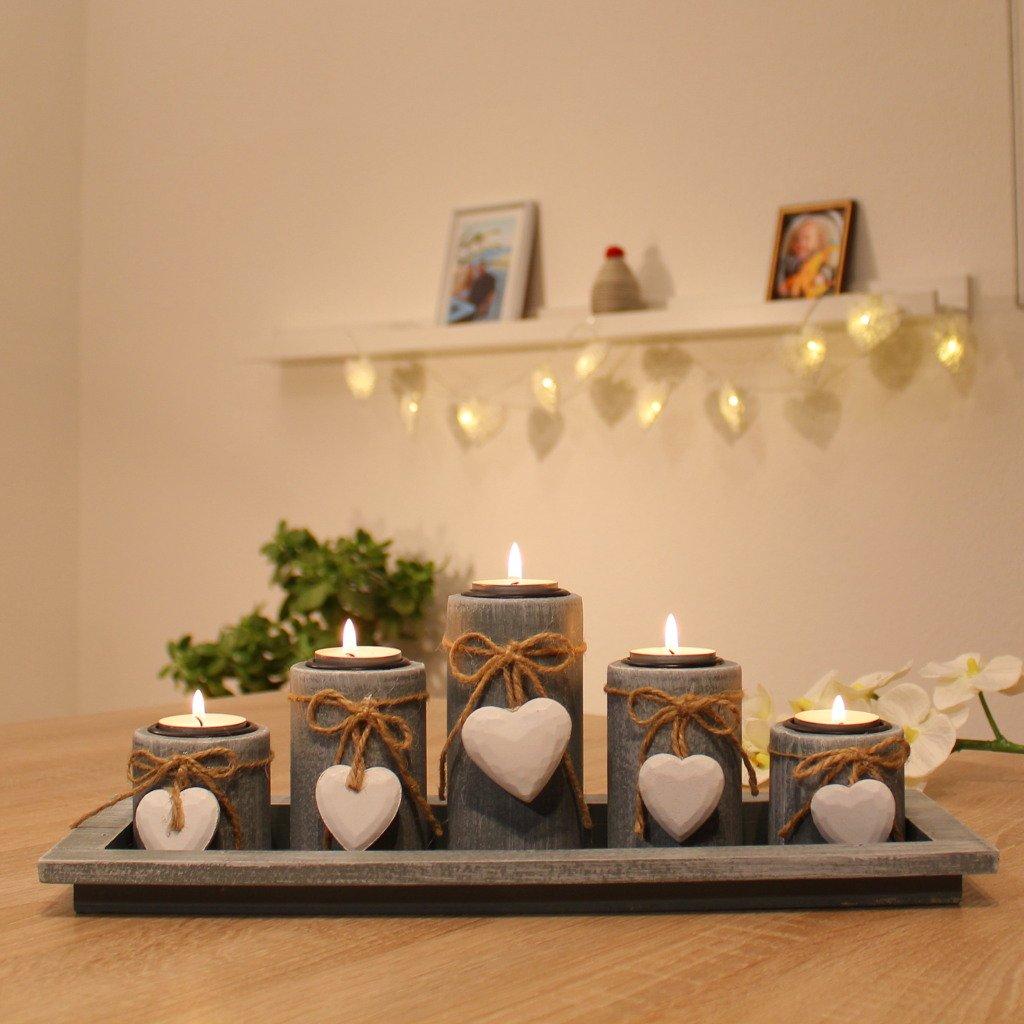 Amazonde Teelichthalter Set Auf Holztablett Tischdekoration Weihnachtsdeko Innen Tischdeko