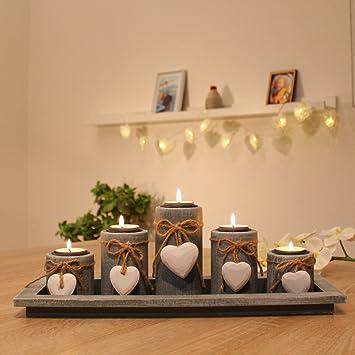 Amazon.de: Teelichthalter Set auf Holztablett Tischdekoration ...